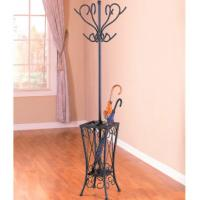 Buy cheap Antique Black Clothes Hanger Stand , Metal Tree Coat Rack With Umbrella Stand from wholesalers