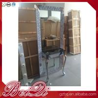 Buy cheap Dressing table with light mirror used beauty salon furniture gold frame hair salon station mirror product