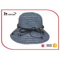 Buy cheap Cotton mix wide brimmed straw hat , womens dark color floppy straw hat from wholesalers