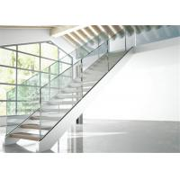 Buy cheap Double Side Plate Steel Structure Staircase Open Riser Indoor With Glass Railing from wholesalers