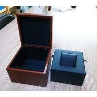 Buy cheap Wood Watch Case with Walnut Finish, Black Leather Cushion for Single Timepiece from wholesalers