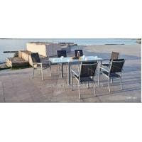 Buy cheap Modern Style Metal Patio Table And Chairs 7 Piece Patio Set With Textilene Fabric from wholesalers