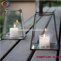 Buy cheap geometric glass flower room surrounded transparent gold candle holder from wholesalers
