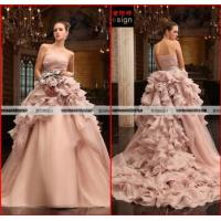 Buy cheap Elie Saab Real Sample Pink Organza Wedding Gown Falbala Ball Gow Wedding Dress from wholesalers