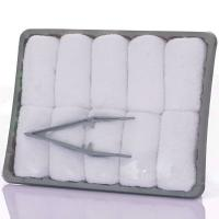 Buy cheap Good Quality disposable rolled airline towel cotton towel in tray with tong 100% cotton terry airline restaurant towel product