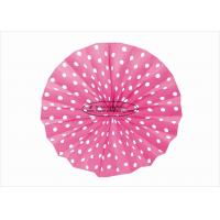 Buy cheap Fashion Hanging Fuchsia Paper Folding Fans With 10 12 14 Polka Dots Printed from wholesalers