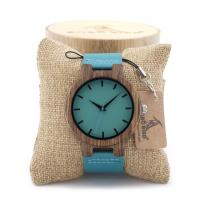 Buy cheap Blue leather band zebra wood case with paper box for gift from wholesalers