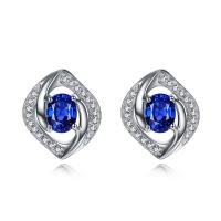 China Genuine White Gold Sapphire Stud Earrings With Diamand Accents on sale