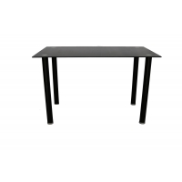 Buy cheap All-black Tempered Glass Top Dining Table With Four Round Legs And Large Aluminum Plate Strong Adhesive Long Life from wholesalers