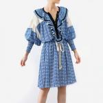 Buy cheap Fashion Vintage Print Summer Dress Women Lantern Sleeve High Waist Drawstring Dress from wholesalers
