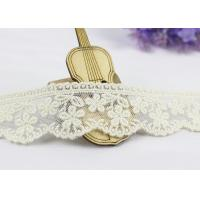 Buy cheap 3.5 Width White Cotton Lace Trim By The Yard,  Scalloped Floral Mesh Lace Ribbon from wholesalers