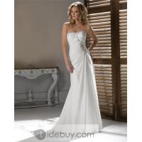 Buy cheap Spectacular Sheath/Column Strapless Floor-Length Chapel Beaded Wedding Dresses from wholesalers