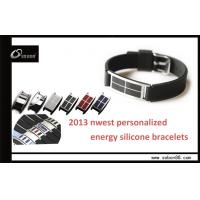 Buy cheap Black Sports Wrist Band Pure Titanium and Ceramic Power Balance Silicone Bracelet from wholesalers