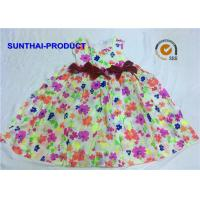Buy cheap 3D Bows Little Girl Cotton Dresses , Sleeveless Floral AOP Kids Summer Dresses from wholesalers