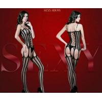 Buy cheap Netting hollow strap striped coveralls socks sexy lingerie for personality women from wholesalers