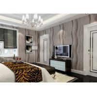 Buy cheap Grey Removable Wall Coverings Contemporary Bedroom Wallpaper With Curve Line Pattern from wholesalers