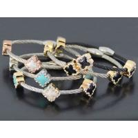 Cable Wire Stainless Steel Bracelet Plating Colors Flower