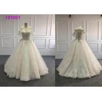 Buy cheap Long Detachable Simple Fashion Bridal Wear , Customized Gold Ball Gown Wedding Dress from wholesalers