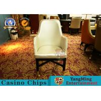 Buy cheap Oak Wood Custom Gambling Poker Table Chair / Stainless Steel Metal Pulley Leather Hotel Chair from wholesalers