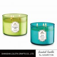 Buy cheap Transparent Three Wick / Multi Wick Scented Candles In Different Color Glass Bottles from wholesalers