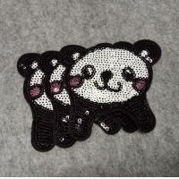Buy cheap custom clothing PANDA design sequin embroidery patch embroidery badge from wholesalers