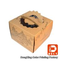 China Brown Kraft Paper Cake Packaging Boxes , Recyclable Square Cake Boxes With Handles on sale