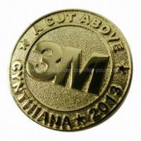 Buy cheap Stamping Gold Emblem/Lapel Pin, Sand Blast Finishing, Back Stamping, Butterfly Clutch from wholesalers