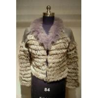 Buy cheap Knitted Chinchilla Rabbit Fur Coat with Fox Fur Collar from wholesalers