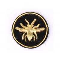 Buy cheap Round Bee Bullion Wire Badges Emblems Washable Embroidered Uniform Patches from wholesalers