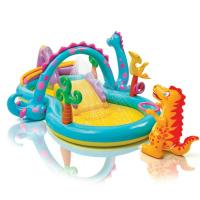 Buy cheap Dinosaur Kids Play Center Inflatable Paddling Pool With Soft Slide 0.25mm Thickness from wholesalers