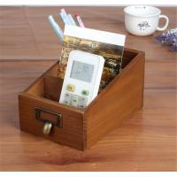 Three Compartment Wood Desk Organizer For Home Sundries Storage