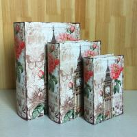Buy cheap S/3 Canvas Wooden faux leather book box for gift wood box gift from wholesalers