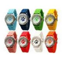 Buy cheap Paw Print Silicone Gel Rubber Band Crystal Bezel Women's Watch Stainless Steel Back from wholesalers