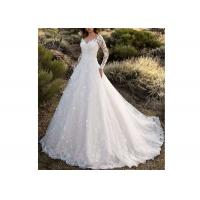 China Long Sleeve Backless Flower Lace Ball Gown Wedding Dress With Long Tail Off White Color on sale