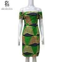 Buy cheap 100 % cotton wax fabric Slash Neck African print dress Sexy Slash Neck Collar XS-XXL from wholesalers
