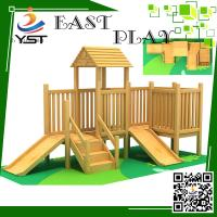 Buy cheap Indoor Wooden Playground Equipment , Childrens Wooden Playhouse With Slide from wholesalers