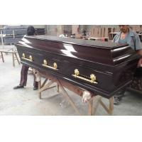 Buy cheap Black walnut color european style wooden coffins , MDF coffin from wholesalers