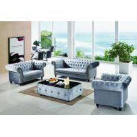 China Purple Color Modular Chesterfield Set Wooden Leather 1+2+3 Sofa on sale