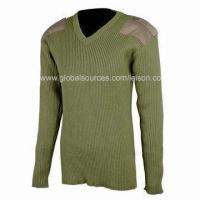 Buy cheap Wool Military Sweater with Embroidery and Silkscreen Printing, Comfortable to Wear from wholesalers
