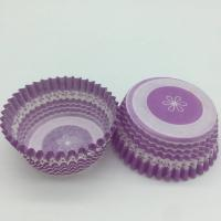 Buy cheap Purple Round Shape Muffin Paper Cups , Striped Cupcake Liners FDA SGS Standard product