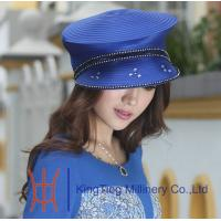 Buy cheap Red / Blue Beret Church Hats with Stones Horse Racing Fabric Twist Hats from wholesalers