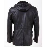 Buy cheap anti-static Designer Black / Dark Red / Yellow Hooded Leather Coat for adults product