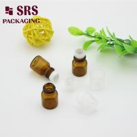 Buy cheap SRS empty 1ml amber glass roll on perfume bottle with clear plastic cap from wholesalers
