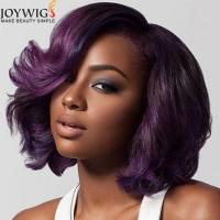 Buy cheap Fashion Bob style human hair weave purple remy hair short bob lace front wig free shipping from wholesalers