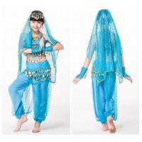 Buy cheap Blue Lightweight Soft Childrens Belly Dance Costume Set Comfortable from wholesalers