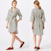 Buy cheap New Design Relaxed Fit Deep V-neckline Stripe Linen Dress for Woman from wholesalers
