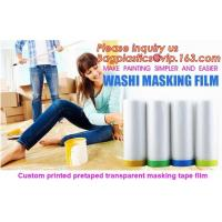 Buy cheap HDPE Masking Film,Indoor Application Pretaped Drop Cloths,masking film,pre-taped cover car painting protection film hous from wholesalers