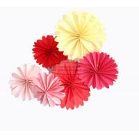 Buy cheap Wedding Tissue Paper Fan Decorations , Handmade Paper Decoration Pink Yellow Red from wholesalers