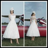 Buy cheap White Vintage A Line Lace Short Brides Wedding Dresses With Sleeve from wholesalers