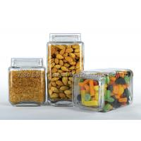 Buy cheap Three  pieces square glass canister set  with plastic lids  for food / glass kitchen storage containers product